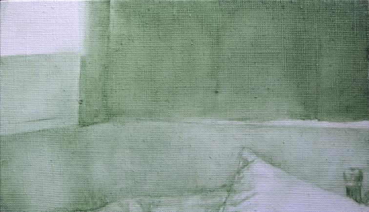 Blinds: 2014, oil on flax linen, 20.5cm x 35.5cm