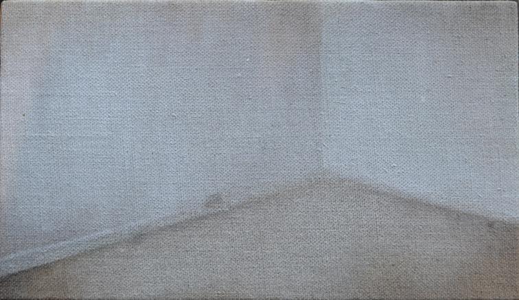 Corner: 2015, oil on flax linen, 20.5cm x 35.5cm