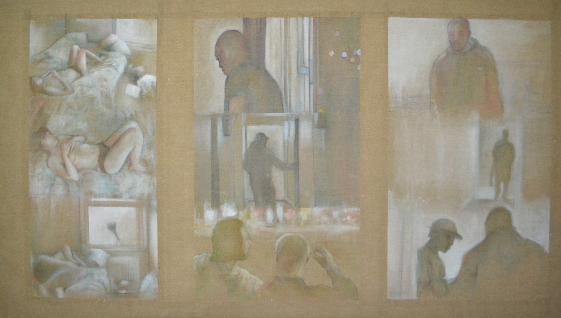 Is There Violence in the Silence: 2016, oil on flax linen, 180cm x 350cm