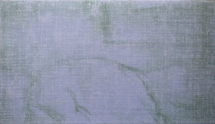 Generation Loss: 2014, oil on flax linen, 20.5cm x 35.5cm